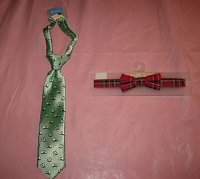 Boy 6-18 Mo Plaid Bowtie & Soccer Pattern Necktie Childrens Place Nwt Preknotted