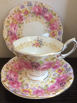 Vintage Royal Albert Serena pink roses teacup trio set