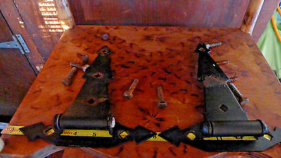 2 Large Vtg Black Metal Barn Door Gate Strap Hinges Arrow Unique Salvage  HEAVY