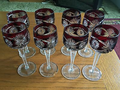 Beautiful Set of 4 Vintage Bohemian Czech Crystal Red Cut to Clear Wine Glasses