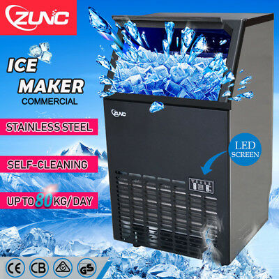 ZUNC Commercial ICE Cube Maker Machine for Home Business Fast Up To 80KG/Day