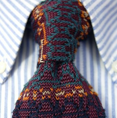 Vintage Rooster Mens Purple Multi Color Cotton Blend Knit Necktie - Made in USA