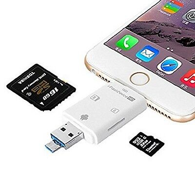 Lightning Flash USB SDHC Micro SD OTG Card Reader for Android iPhone7 6 6 Plus