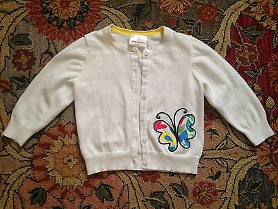 NWOT Hanna Andersson White Sweater Cardigan with Butterfly Applique, Size 90 3T