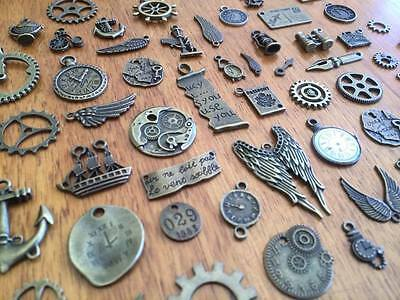 5-80 Random Bronze Steampunk Charms for Scrapbooking & Cardmaking