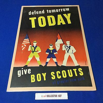 """Boy Scout Poster Defend Tomorrow Today Give Boy Scouts Of Greater N Y 24""""x16"""""""
