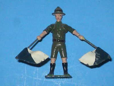 Boy Scout Vintage Britains Boy Scout Signaller Lead Toy with moving arms / flags