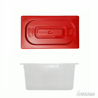 12x Food Pan with Red Lid 1/3 GN Size 200mm Deep Polypropylene Gastronorm