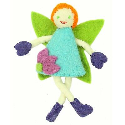 Handmade Needle Felted Wool Tooth Fairy Doll Pillow - Redhead with Blue Dress