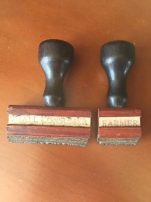 Vintage 2 Wood And Rubber Stamps -Farmer -Small Consumer