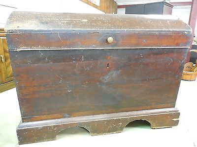 "Antique 1700's Immigrant Blanket Storage Trunk Chest 48""W x 36""H"