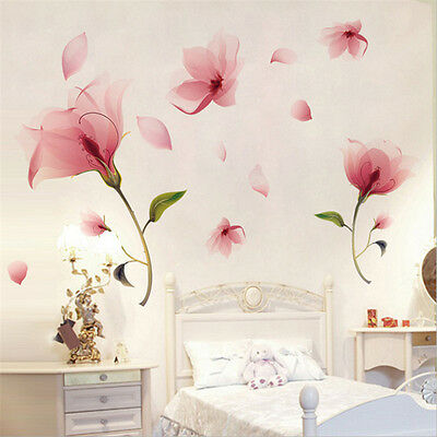 Pink Flower Wall Sticker Vinyl Mural Decals Removable Home Art Living Room Decor