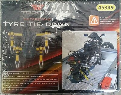 TORQUE Motorcycle/Motorbike Tyre Tie Down Ratchet Strap System