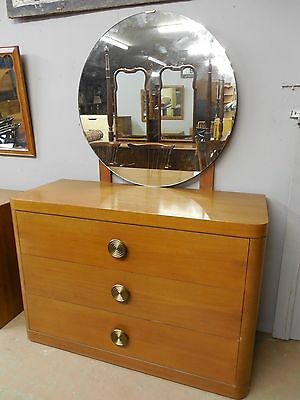 "Art Deco Dresser / Chest 3 Drawers with Attached Mirror 50""W x 34""H"