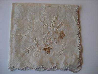 """Antique 1800's Silk Hankie with Silk Embroidery Work - Signed """"Mama & Papa"""" #295"""