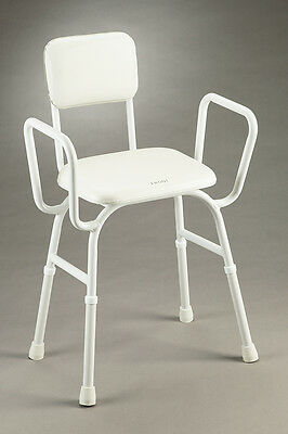 Shower Stool Durable Padded Seat Backrest Integrated Arms Height Adjustable Non-