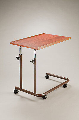 Care Quip Overbed Table Brown Lightweight mobile Adjustable height  Raised lip e
