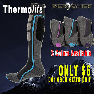 PERYSHER Thermolite Sports Socks: Unisex Ski / Hiking Socks (Size Choice)