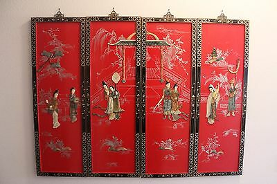 """4 Vtg Japanese, Red Lacquer """"Geisha GirlsGeisha In the Country Side"""" Wall Panels"""