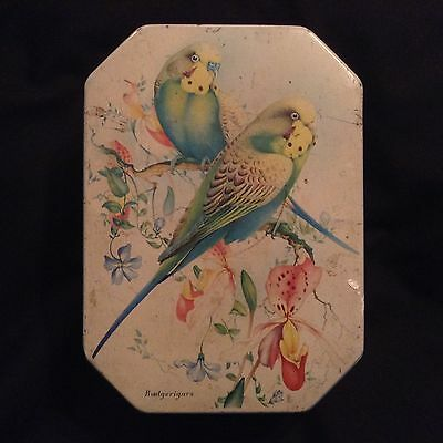 Vintage Storage Tin With Budgerigar Design To Front. Ideal Craft Charity Auction