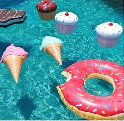 Kids Summer Funny Ice Cream Swim Ring Water Inflatable Float Swimming Pool Toys