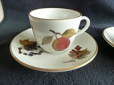 Two Royal Worcester Evesham Gold Small Cups and Saucers Used VGC