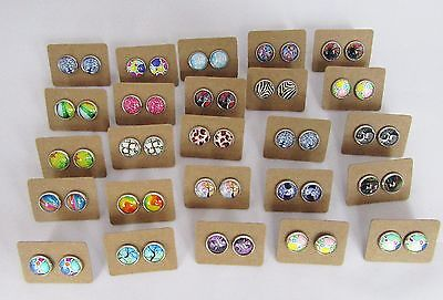 50 Pairs of Cabochon and Glass Dome Earrings - Bulk Lot - Wholesale - Handmade