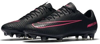 Nike Mercurial Vapor XI FG Soccer Cleats Black Pink ACC 831958-006 Men's 8.5 New