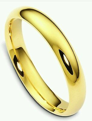 14K yellow gold 4mm solid comfort fit men's and women's wedding band size 4~14