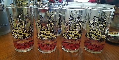 4, Vintage, Davy Crockett ,Peanut Butter, Jelly, Glass, Tumblers,Sharp Graphics