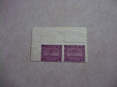 COOK ISLANDS STAMPS SG 34 VARIETY NO WATERMARK PAIR OG LH  - New Zealand