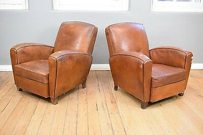 Pair of Art Deco Distressed Leather Armchairs
