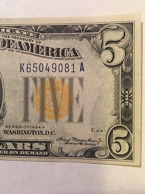 $5 1934A Silver Certificate North Africa –  Uncirculated