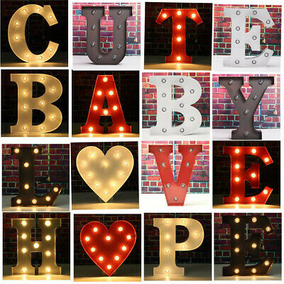 9''&12'' Alphabet LED Letter Lights Light Up Letters Metal Standing Hanging