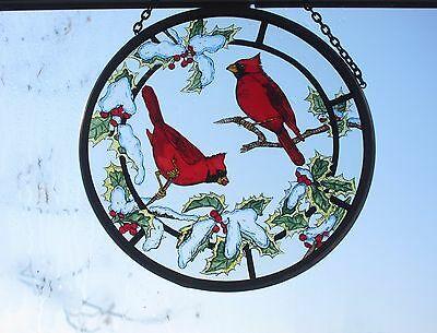 """Cardinals in Snow Stained Glass 6"""" Rondel by Winged Heart"""