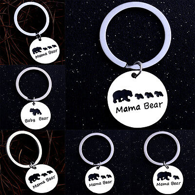 MAMA Bear Dog Tag Chain Keychain Love Mother Children Family Gifts Mom Keyring