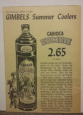1940 Carioca Zombie Alcohol Ad Summer Coolers