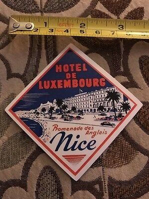 Vintage Style Hotel De Luxembourg Luggage Label Sticker/decal
