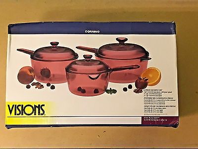 Visions Glass Cookware By Corning 6 Piece Saucepan Set Cranberry - New
