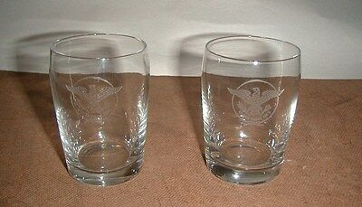 S.S. United States Lines Two Water Glasses Tumblers from 1984 auction Very Nice