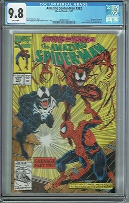 Cgc 9.8 Amazing Spider-Man #362 White Pages Classic Carnage Venom Cover