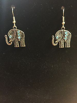 gold plated costume jewelry elephant earrings
