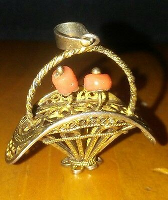 Early Vintage Chinese Silver Canatille Basket Pendant with Coral Flowers