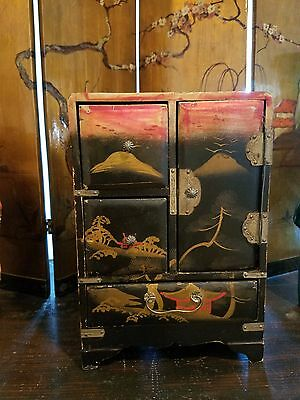 Japanese Hand Painted Miniature Chest for Trinkets or Jewelry, Dollhouse Piece