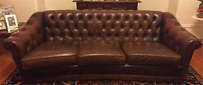 Vintage Large English Dark Brown Genuine Leather Chesterfield 3 Seater Sofa