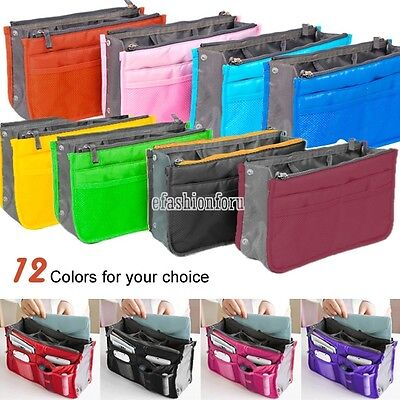 Travel Insert Handbag Women Organizer Purse Large liner Tidy Bag Pouch 12 Colors