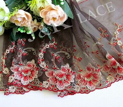 20 cm width Pretty Coffee /Red /Pale Goldenrod Embroidery Mesh Lace Trim