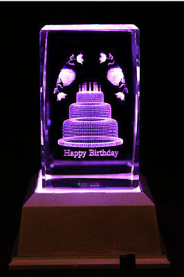 3D Happy Birthday Cake & Candle Laser Etched Crystal LED Night Light Gift OTH18