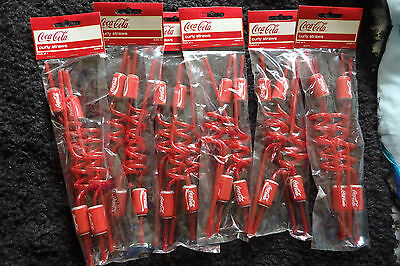 3X Coca Cola 4 pack of can curly drink straws ** NEW AND SEALED **