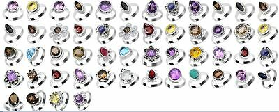 Multi Colorful Gemstone Wholesale Lot 925 sterling Silver 52 Pcs Rings 6-7-8-9""
